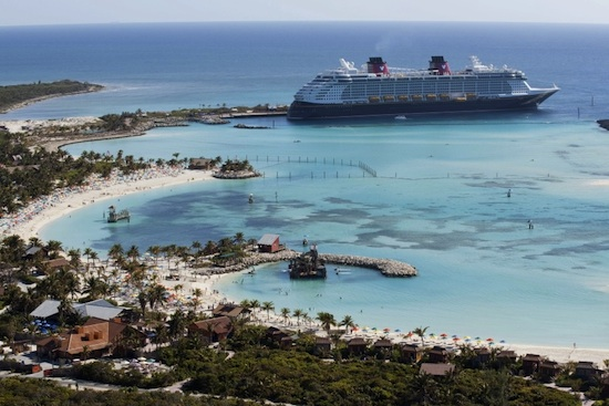The Disney Dream Docks at Disney's Private Island Paradise, Castaway Cay.