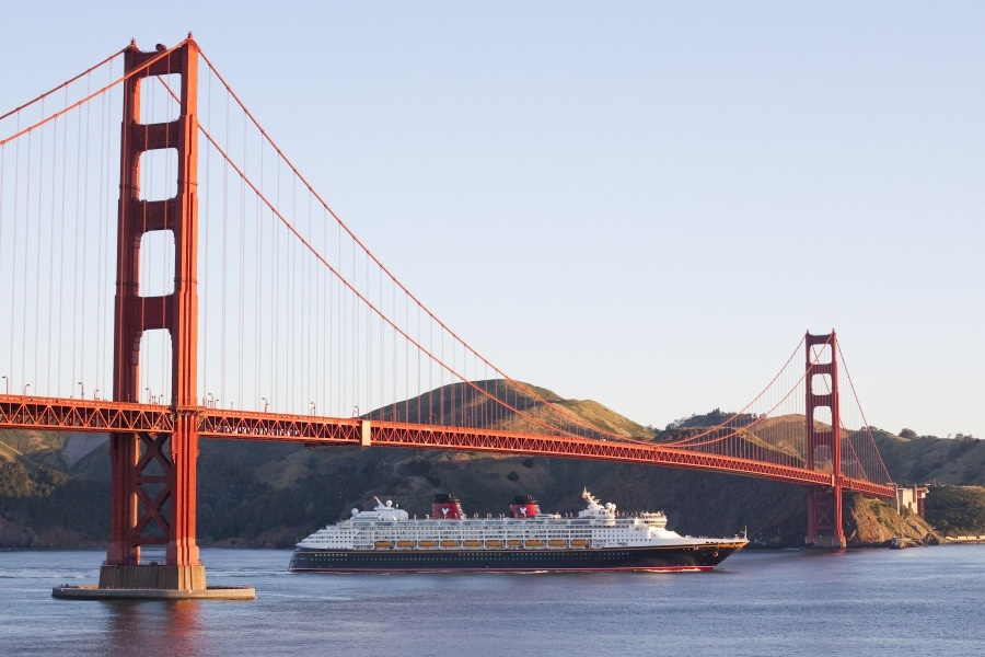 Disney Wonder Sails Under the Golden Gate Bridge