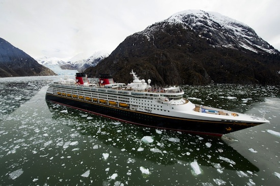 The Disney Wonder Cruises through Tracy Arm Fjord During Its Inaugural Alaskan Voyage