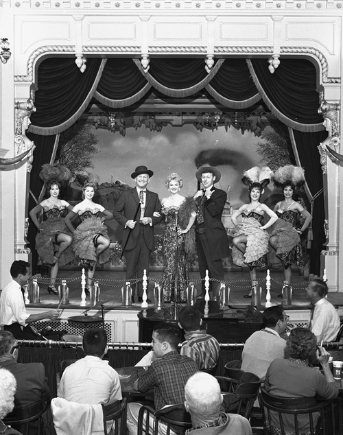 Wally Boag and the cast of the Golden Horseshoe Review, including Donald Novis, left, and Betty Taylor, center
