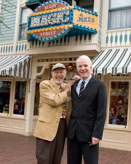 Wally Boag and Steve Martin on Main Street, U.S.A., at Disneyland Park, September 2005