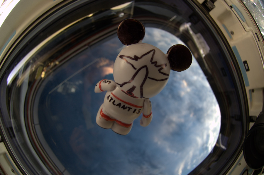 The 'Create-Your-Own' Vinylmation, with artwork created by the astronauts aboard STS-132, looks to the Earth as it floats inside Space Shuttle Atlantis