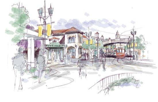 Artist Rendering of the New Buena Vista Street Area at Disney California Adventure Park