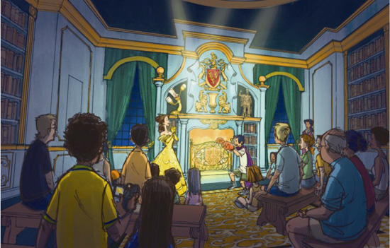 Artist Rendering of the Enchanted Tales with Belle Experience Coming to the New Fantasyland at Magic Kingdom Park