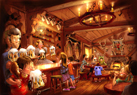 The interior of Gaston's Pub will be themed after the one featured in the film – a hunting lodge full of antlers.