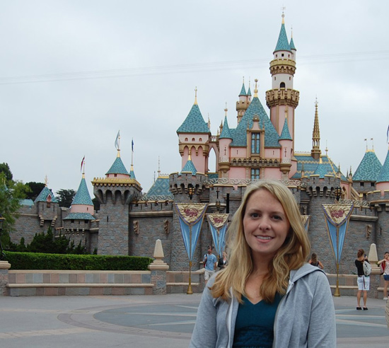 Jen in Front of Sleeping Beauty Castle at Disneyland Park