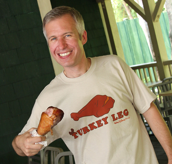 Disney Parks Blog Author Steven Miller Enjoys a Turkey Leg at Disney's Animal Kingdom
