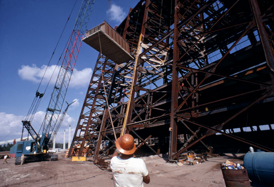 During construction of Disney's Contemporary Resort, prebuilt rooms were slid into the building's frame one by one.