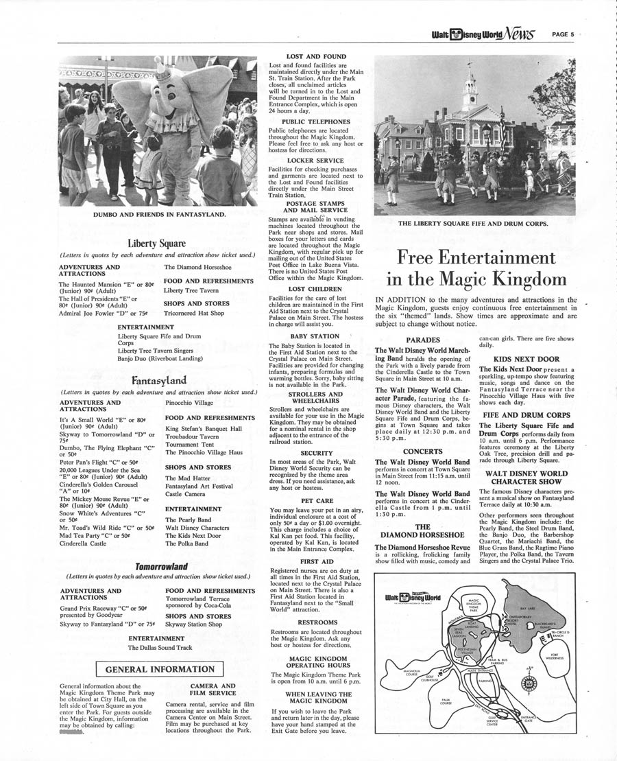 Finding your way around magic kingdom park 40 years ago disney pages from the walt disney world news magic kingdoms first park map gumiabroncs Images