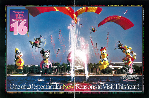 Magazine Advertisement Featuring 'Surprise in the Skies' at Epcot