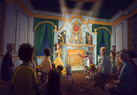 Once inside Maurice's Cottage, guests can engage in a playful storytime with Belle and Lumiere.