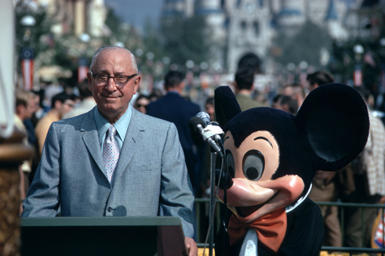 Roy E. Disney and Mickey Mouse at Walt Disney World Resort in 1971