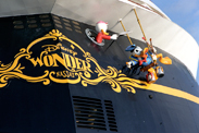Donald Duck and his Nephews on the Stern of the Disney Wonder