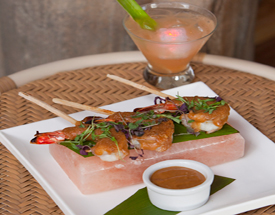 Prawns satay on sugar cane skewers with a peanut sauce from Off the Hook.