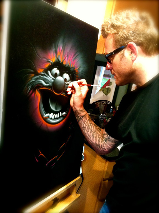 Noah Working on Muppets Mayhem Artwork