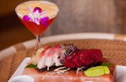 Sashimi fans will love the hamachi (yellowtail) and ahi tuna served on a beautiful block of pink salt at Off the Hook.