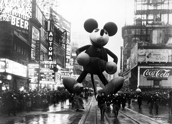 Mickey Mouse Makes His Debut at the Macy's Thanksgiving Day Parade in New York City, 1934 (Courtesy of Getty Images)