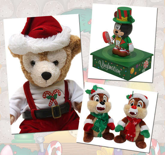 Duffy the Disney Bear Plush, Goofy Holiday Vinylmation, and Chip and Dale Plush
