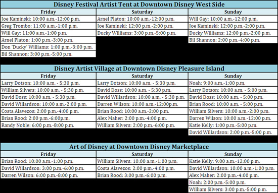 Schedule for Festival of Our Disney Masters at Downtown Disney