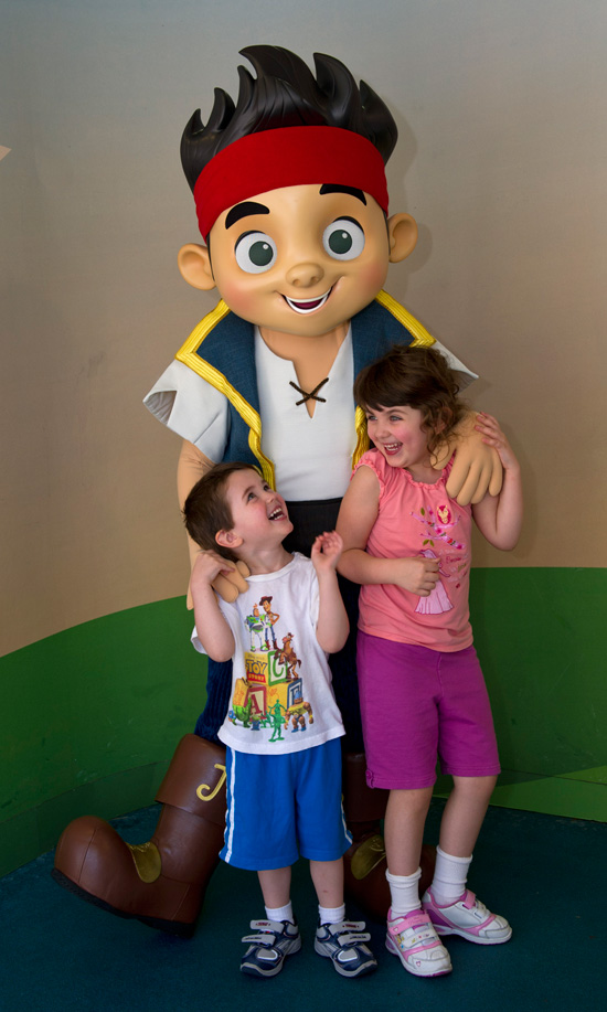 Sophie and Peyton Jovanovic from Winnipeg, Canada, Meet Jake of 'Jake and the Never Land Pirates' at Disney's Hollywood Studios