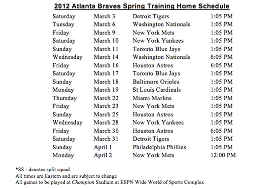 2012 Atlanta Braves Spring Training Home Schedule