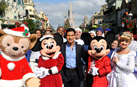 Host Mario Lopez is Greeted by Mickey Mouse and Minnie Mouse