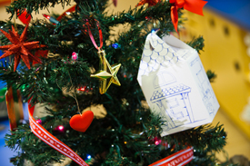 Holiday Tree Decorated by Employees at Build-a-Bear- Workshop in Downtown Disney at Disneyland Resort