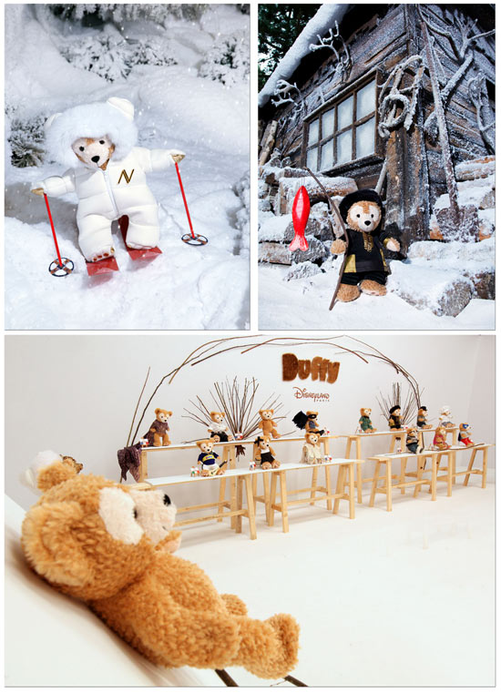 Duffy The Disney Bear Arrives at Disneyland Resort Paris; Designs by Alexandre Vauthier (top left) and Nathalie Garçon (top right)