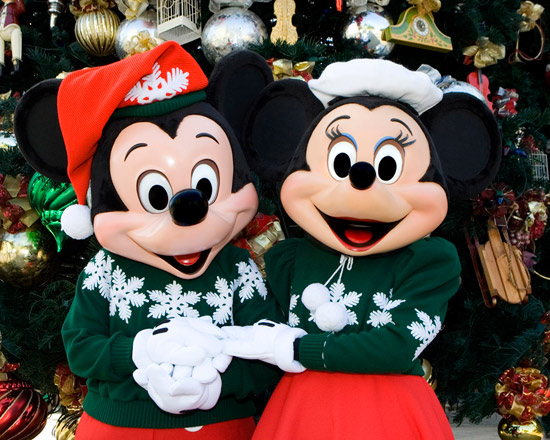 Mickey Mouse and Minnie Mouse Enjoying the Holiday Season