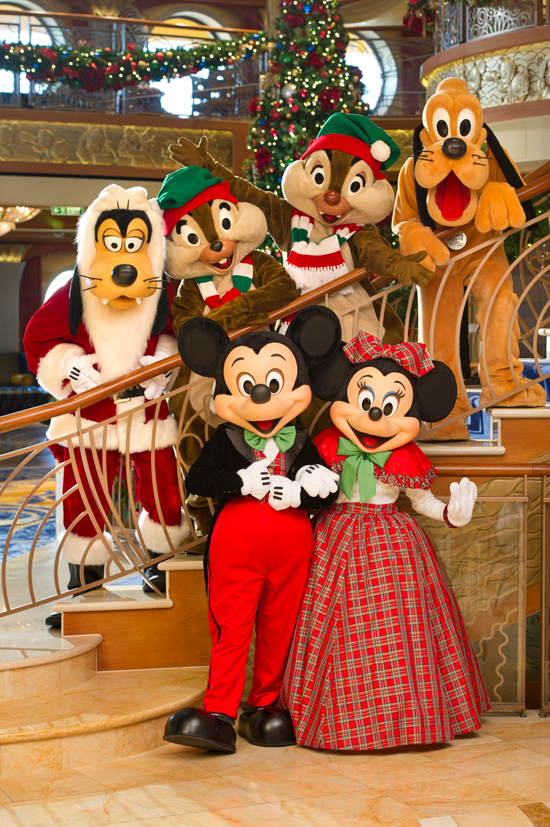 Minnie Mouse, Goofy, Pluto, Chip and Dale, and Mickey Mouse Celebrate the Holidays on the Disney Dream