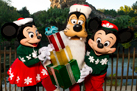 Minnie Mouse, Goofy, and Mickey Mouse Celebrating the Holidays at Walt Disney World Resort