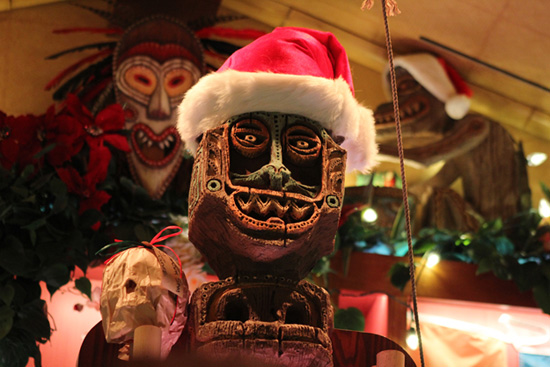 Tiki Figure Decorated for the Holidays at Trader Sam's – Enchanted Tiki Bar at the Disneyland Hotel