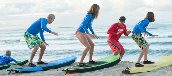 Surfing at Aulani, a Disney Resort & Spa in Ko Olina, Hawai'i