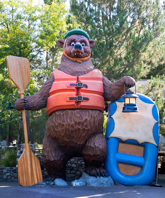 Larger-than-life Bear Wearing a Life Jacket in Front of Grizzly River Run at Disney California Adventure Park