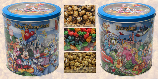 New Popcorn Tin, containing three different kinds of popcorn, will soon be arriving at Disneyland and Walt Disney World Resorts.