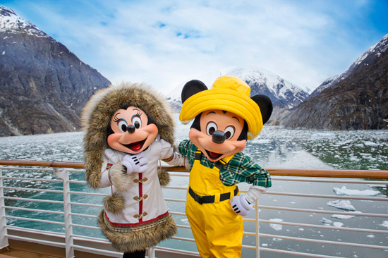 Mickey Mouse and Minnie Mouse with Disney Cruise Line in Alaska