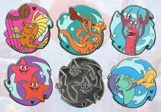 New Hidden Mickey Pin Series Coming to Disneyland Resort in 2012, Featuring Colorful Sea Creatures From The Little Mermaid ~ Ariel's Undersea Adventure Attraction