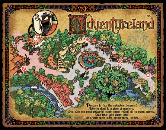 Map of Adventureland, Used by Walt Disney World Resort Guest in Sorcerers of the Magic Kingdom Game