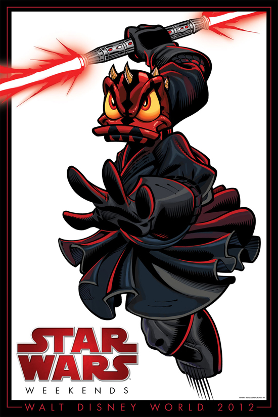 Star Wars Weekends 2012 Poster of Donald Duck Posing as Darth Maul