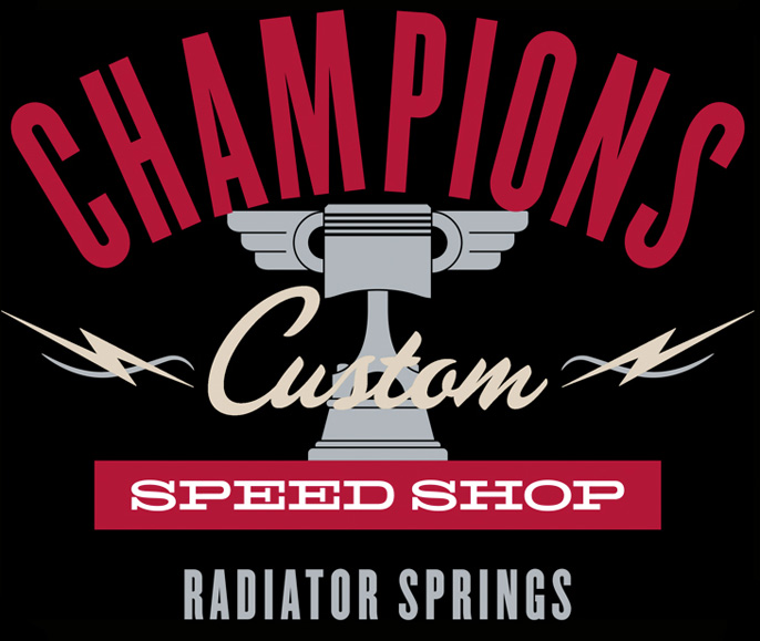 Logo for Champions Custom Speed Shop at Cars Land at Disney California Adventure Park