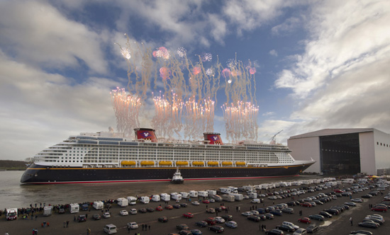 Disney Fantasy Floats Out of the Enclosed Building Dock for the First Time