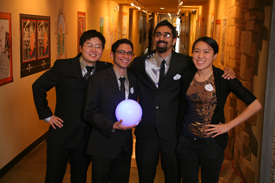 Carnegie Mellon University team in Walt Disney's Imagineering's 21st ImagiNations Design Competition. L-R: Ping Li, Michael Honeck, Franz Mendonsa and Imagineering Mentor: Janet Hwu. Photo Credit: Gary Krueger, Walt Disney Imagineering