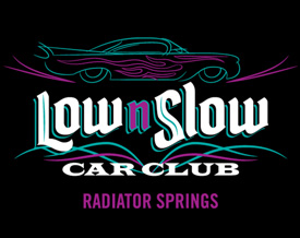Logo for Low & Slow Car Club at Cars Land at Disney California Adventure Park