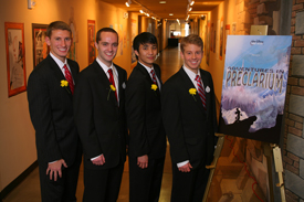 North Carolina State University's team in Walt Disney's Imagineering's 21st ImagiNations Design Competition. L-R: Kyle Thompson, Michael Habersetzer, Andy Park, Brian Gaudio. Photo Credit: Gary Krueger, Walt Disney Imagineering
