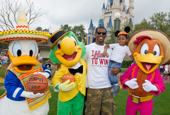 NBA All-Star Chris Paul and Son with The Three Caballeros at Magic Kingdom Park