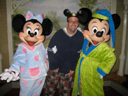 Minnie, Mickey and Nate get into the spirit by wearing pajamas.