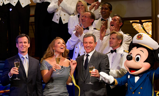 Tom Staggs, Mariah Carey, Bob Iger and Mickey Mouse at the Christening Ceremony of the Disney Fantasy