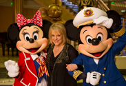 Nancy Grace with Mickey and Minnie Mouse on the Disney Fantasy