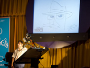 Disney Artist Don Shane Shows Off Finished Drawing at The Magic of Disney Animation at Disney's Hollywood Studios