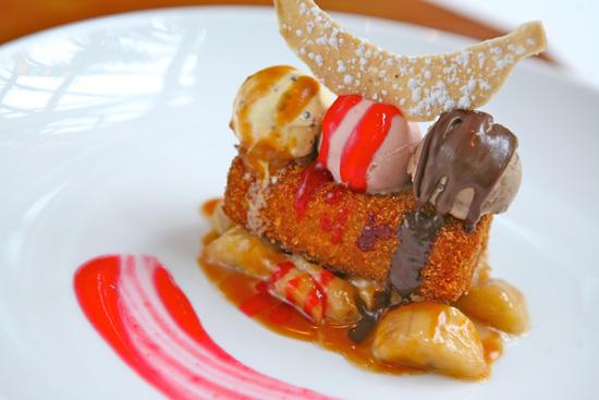 Fried Banana Split Monte Cristo Sundae at Carthay Circle Restaurant in Disney California Adventure Park